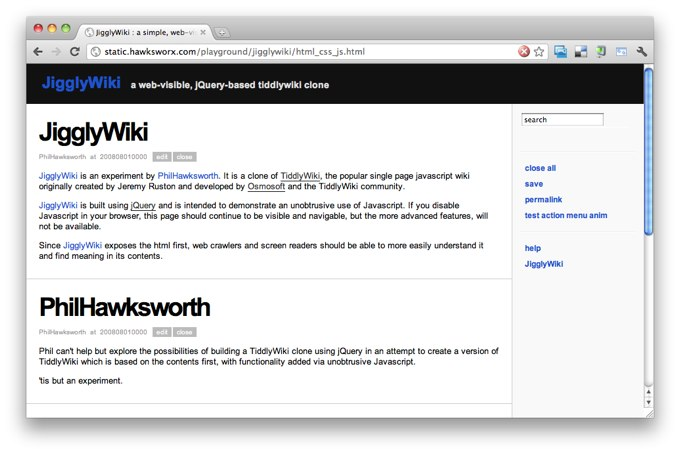 Announcing JigglyWiki  A TiddlyWiki experiment with jQuery